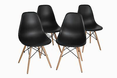 Chairs for 4 Black Dining Chairs DSW Retro Designer Style Wood Tube Legs PP Seat