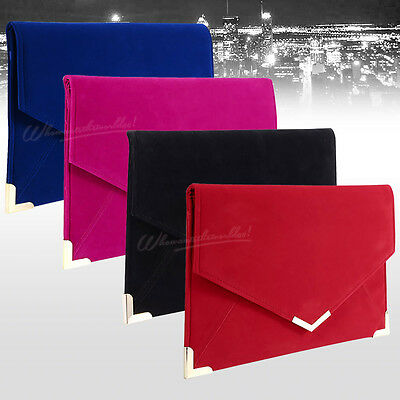 New Women Girly Velvet Suede Envelope Clutch Evening Wedding Prom Party Handbag