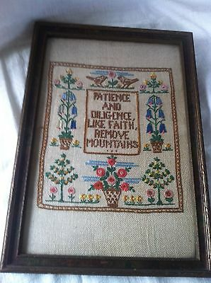 Charming Embroidered Needlework Sampler Framed Patience & Diligence Like Faith