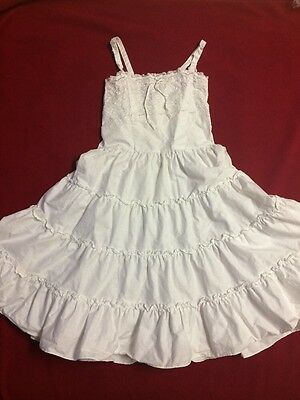 Vintage White Cotton SLIP Girls Size 10, Made in US, Lace, Penney's, 1950's?