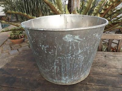 Solid Copper Boiler Washing Tub Planter Pot - Vintage Industrial Antique Retro .