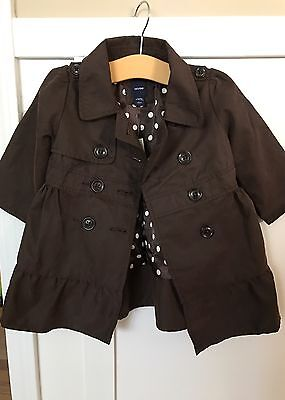 BABY GAP Girls NEW Brown Jacket Size 18-24M Pea Coat Ruffle Trench