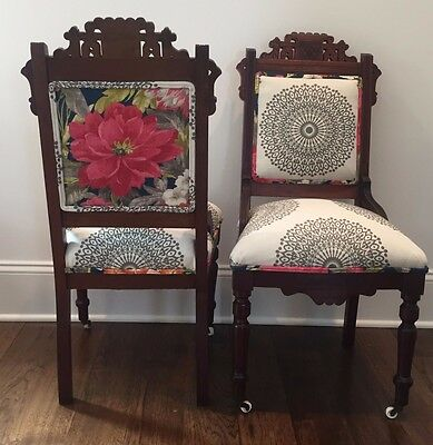 Set of 2 Antique Eastlake Victorian Parlor Chairs