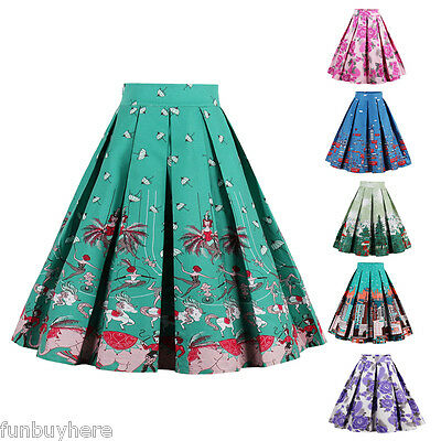 UK Womens Vintage Retro 50s 60s Rockabilly Jive Stylish Swing Skirt Party Dress