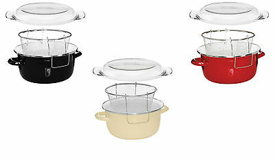 Deep Fat Fryer Chip Pan Pot Enamel On Steel With Glass Pyrex Lid  3 Colours