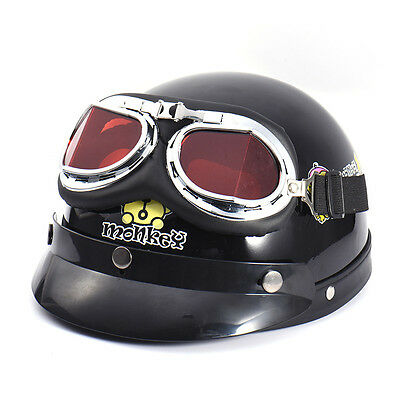 Motorcycle Cruiser Open Face Retro for Harley style Half Helmet Vintage Goggles