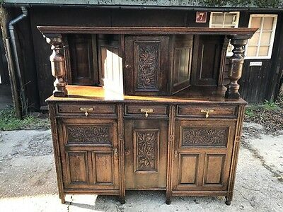 17Th Century Style Carved Solid Oak Court Cupboard