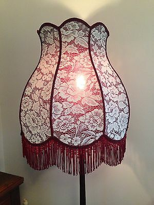 Stunning Large New Hand Crafted Wine Lace  Shade For Floor Lamp