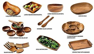 Wooden Fruit, Salad ,Serving Bowls, Dish ,Monkey Pods ,Servers- Acacia Wood NEW