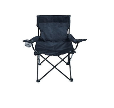 Royal Lightweight Camping Black Chair With Armrest Cup Holders Foldable