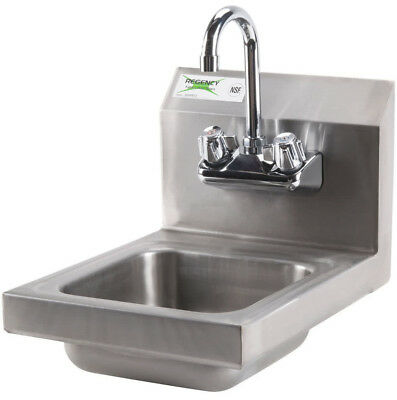 "12"" x 16"" Wall Mount NSF Hand Wash Sink Commercial Restaurant Stainless Steel"