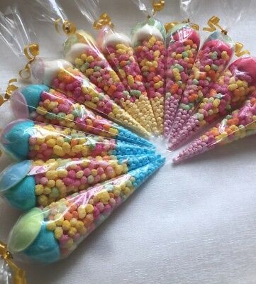 Kids Childrens Pre Filled Sweet Cones, Party Favour Birthday Wedding Loot Bags