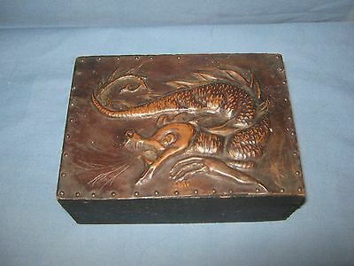 Vintage Dove Tailed Wooden Box With Hammered Copper Top - Dragon