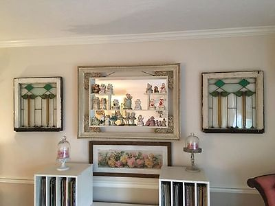 Antique Set of 2 Leaded Stained Glass Window Panes