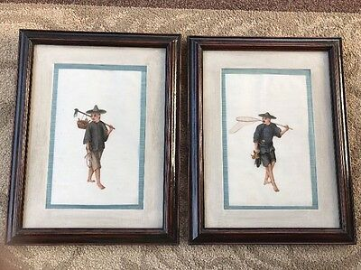 Set Of 2 Framed Chinese Watercolors On Rice Paper Painted Circa 1870 Gallery