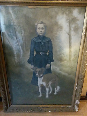 Chilling Victorian Large Painting by Sylvaine Camby (Chimay) 1904 Lady with Dog