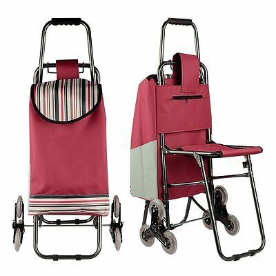 Stair Climb Multipurpose Folding Utility Cart Built-In Seat Laundry Bag Shopping