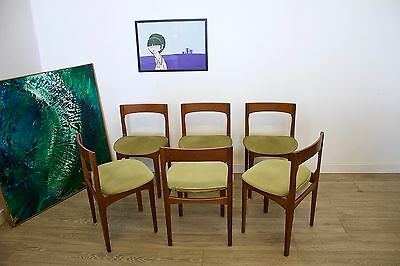 DELIVERY £60 Mid Century Retro Danish Style Nathan Teak 6 Dining Chairs Green