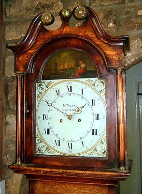 An Oak & Mahogany Georgian Longcase Grandfather Clock C1810