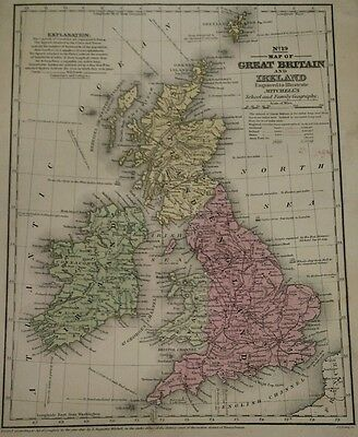 Antique Original 1849 Map of Great Britain and Ireland by S. Augustus Mitchell