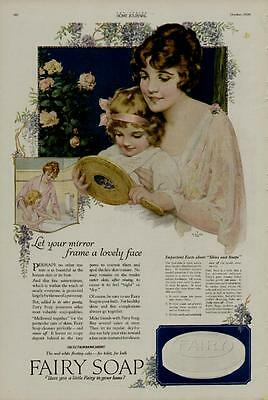 1919 Fairy Soap Ad / Mother And Daughter Mirror Scene - Artists: J Knowles Hare
