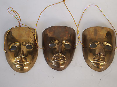 3 Messing Masken, Maske, brass mask