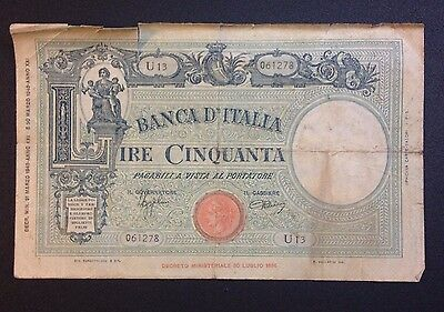 Bank of Italy. 1943 50 Lire Banknote.