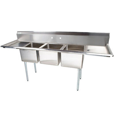 """91"""" Stainless Steel 3 Compartment Commercial Restaurant Dishwash Sink Three NSF"""