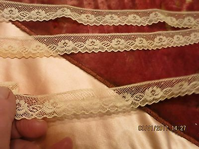Lovely French Net Lace  Great Edge Blond Shade Antique German Doll Dress 2 Yl53