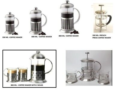 Coffee Plunger in Stainless Steel Glass Cafetiere Ground Filter Press Gift Pack