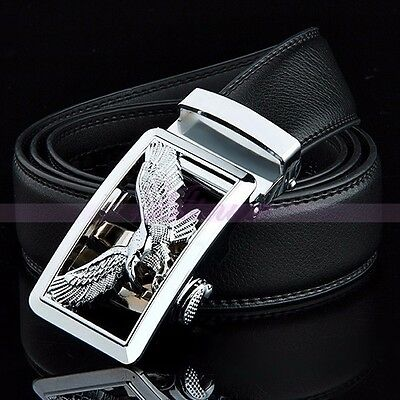 Mens Luxury New Leather Alloy Silver Automatic Buckle Dress Waist Strap Belt