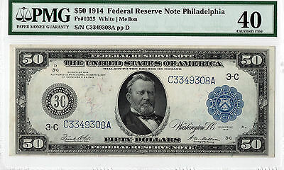 $50 1914 Federal Reserve Note Philadelphia, FR-1035 PMG-40