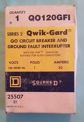 Square D 20 Amp 1 Pole 120 Volt Circuit Breaker QO120GFI 25507 Made in USA!!!!!