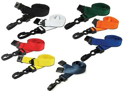 Plain Premium Neck Strap Lanyard 15mm with Safety Break and Strong Sliding Clip