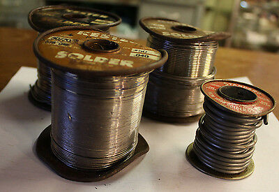 Lot of 4 Vintage Solder Rolls KESTER and other FREE SHIPPING