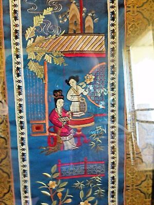 Antique Chinese Embroidered Framed Blue Silk Long Panel, Master Artist