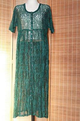 Vtg 80s Green Sheer Lace Dolly Empire Party Midi Cocktail Dress