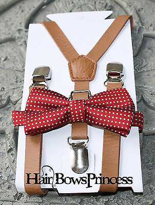 Kids Boys Baby SET pu leather brown Suspenders burgundy bow tie 6months-5Y
