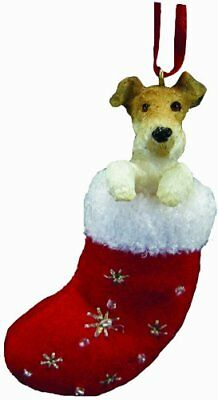 "Wire Fox Terrier Stocking Ornament w ""Santa's Little Pals"" Hand Painted"