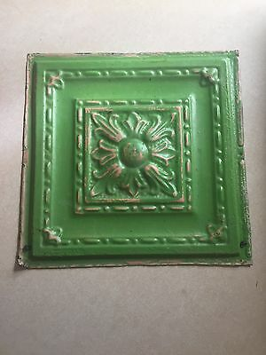 """12"""" x 12"""" Antique Tin Ceiling Tile  Distressed Green. Reclaimed / Up- Cycled"""