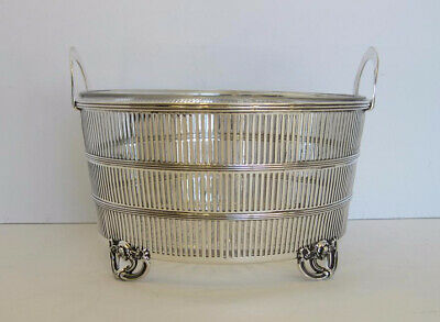 925 Sterling Silver Handmade Woven Design Antique Ice Bucket With Handles An-272