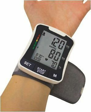 Digital Wrist Blood Pressure Monitor Black Wrist Strap Carry Case Large Display