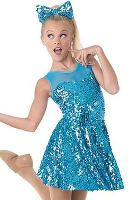 Dance Costume Small Adult Blue Sequin Dress Jazz Tap Solo Competition Pageant