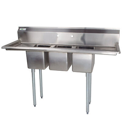 "58"" Stainless Steel 3 Compartment Commercial Dishwash Sink Restaurant Three NSF"