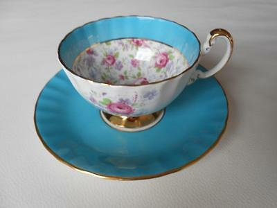 Vintage AYNSLEY Turquoise Blue & Pink Roses CHINTZ FLORAL Tea Cup & Saucer