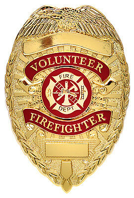 Firefighter Badge Deluxe Gold Volunteer Firefighter Badge Fire Department 1929