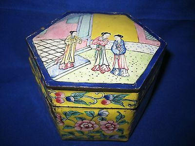 Antique Chinese  Hand Painted Enamel Over Copper Trinket Box