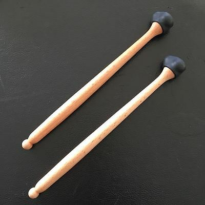 """3 in 1"" Steel drum/Handpan mallets  w/ 3 different hardness rubber tips, Black"