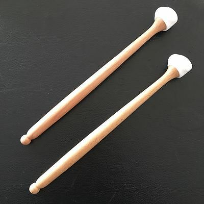 """3 in 1"" Steel drum/Handpan mallets  w/ 3 different hardness rubber tips, WHITE"