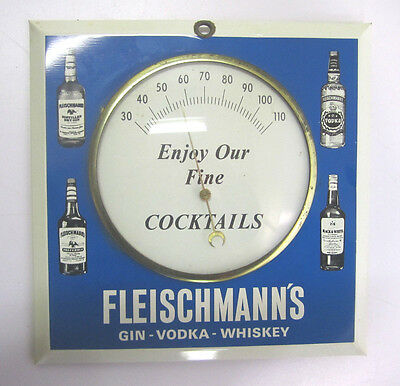 Vintage Fleischmanns Gin Vodka Whiskey Enameled Wall Thermometer Bar Man Cave